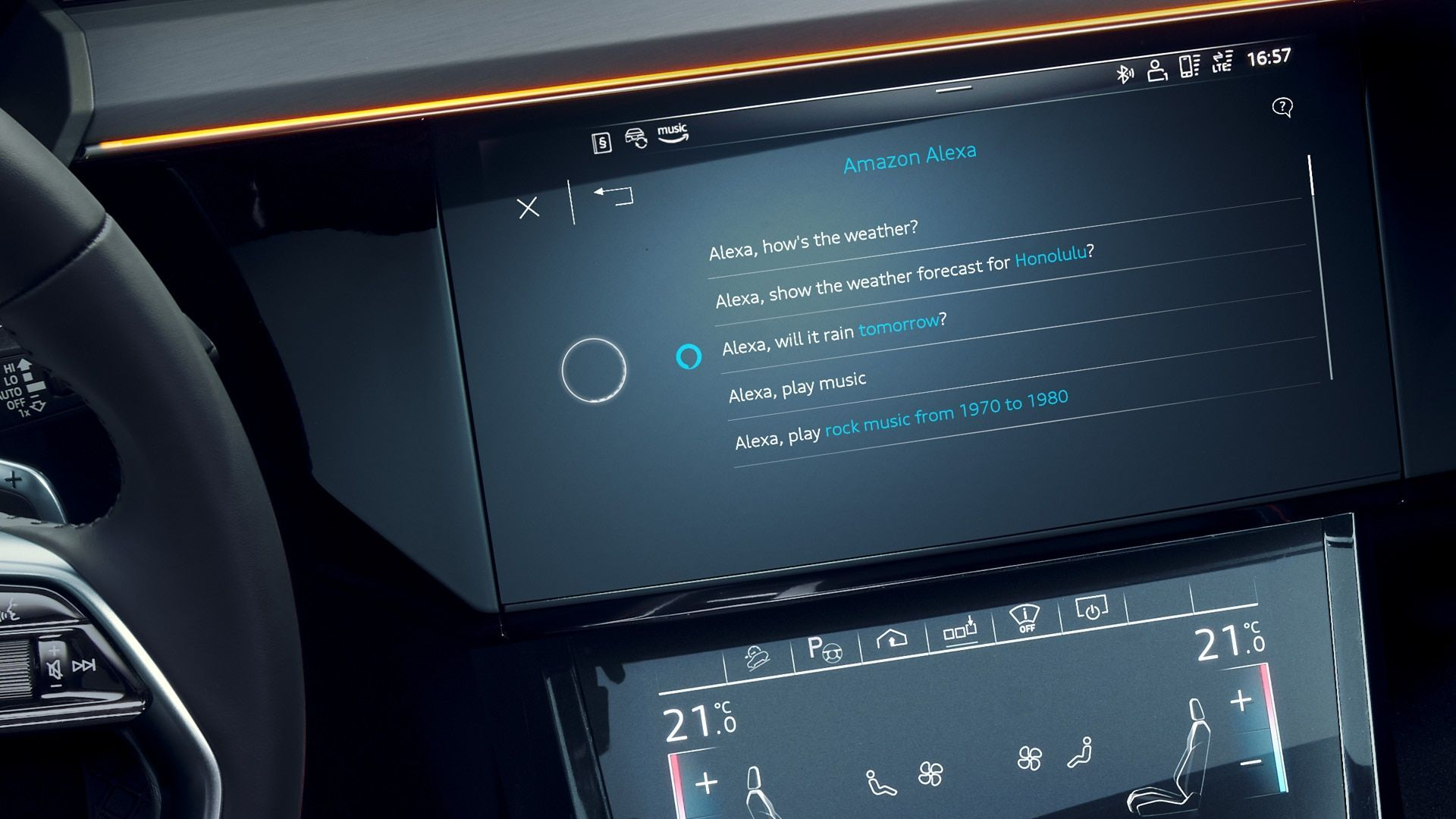 The Audi e-tron infotainment screen with Amazon Alexa voice assistant activated.