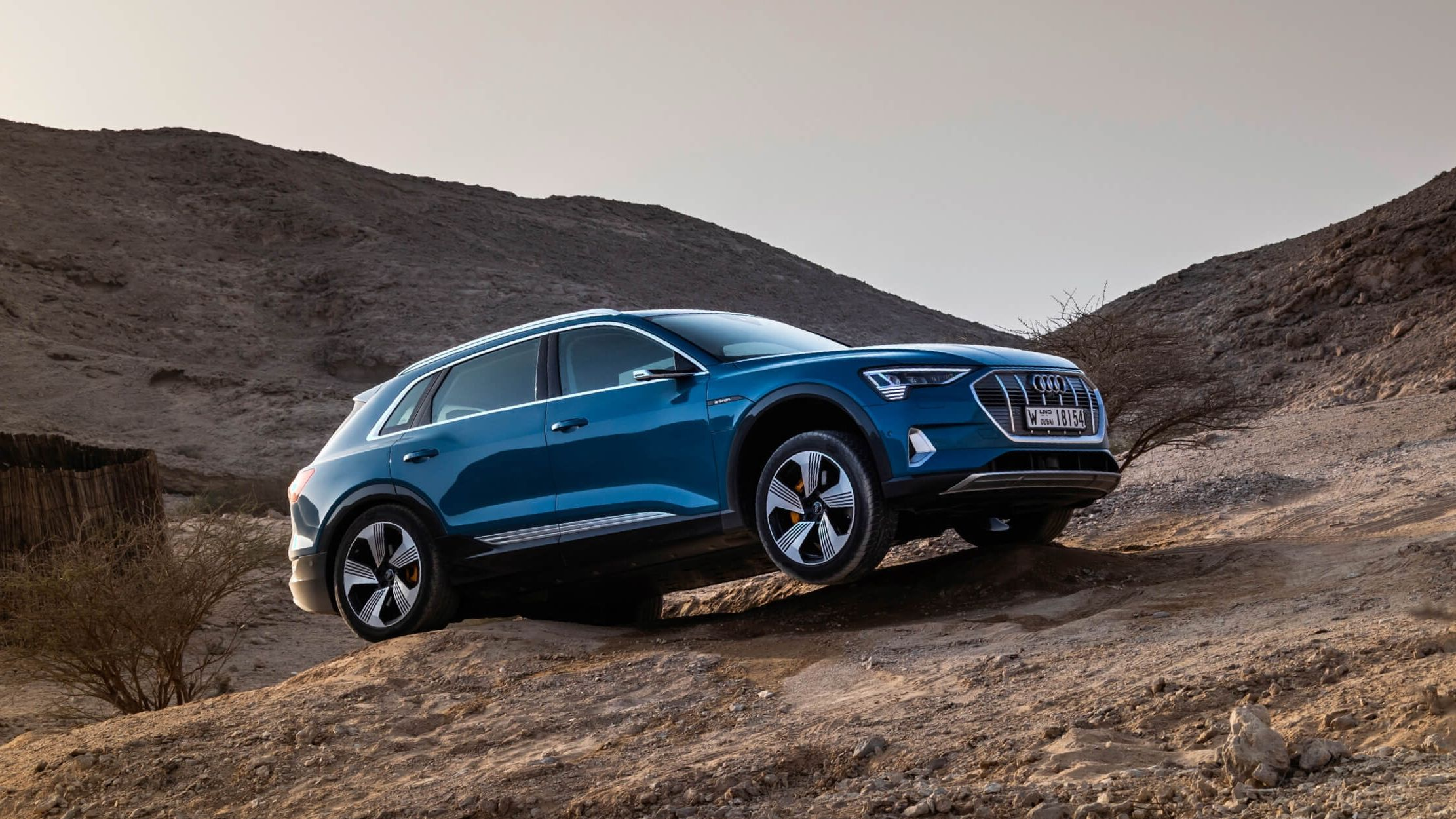 Audi e-tron driving off-road