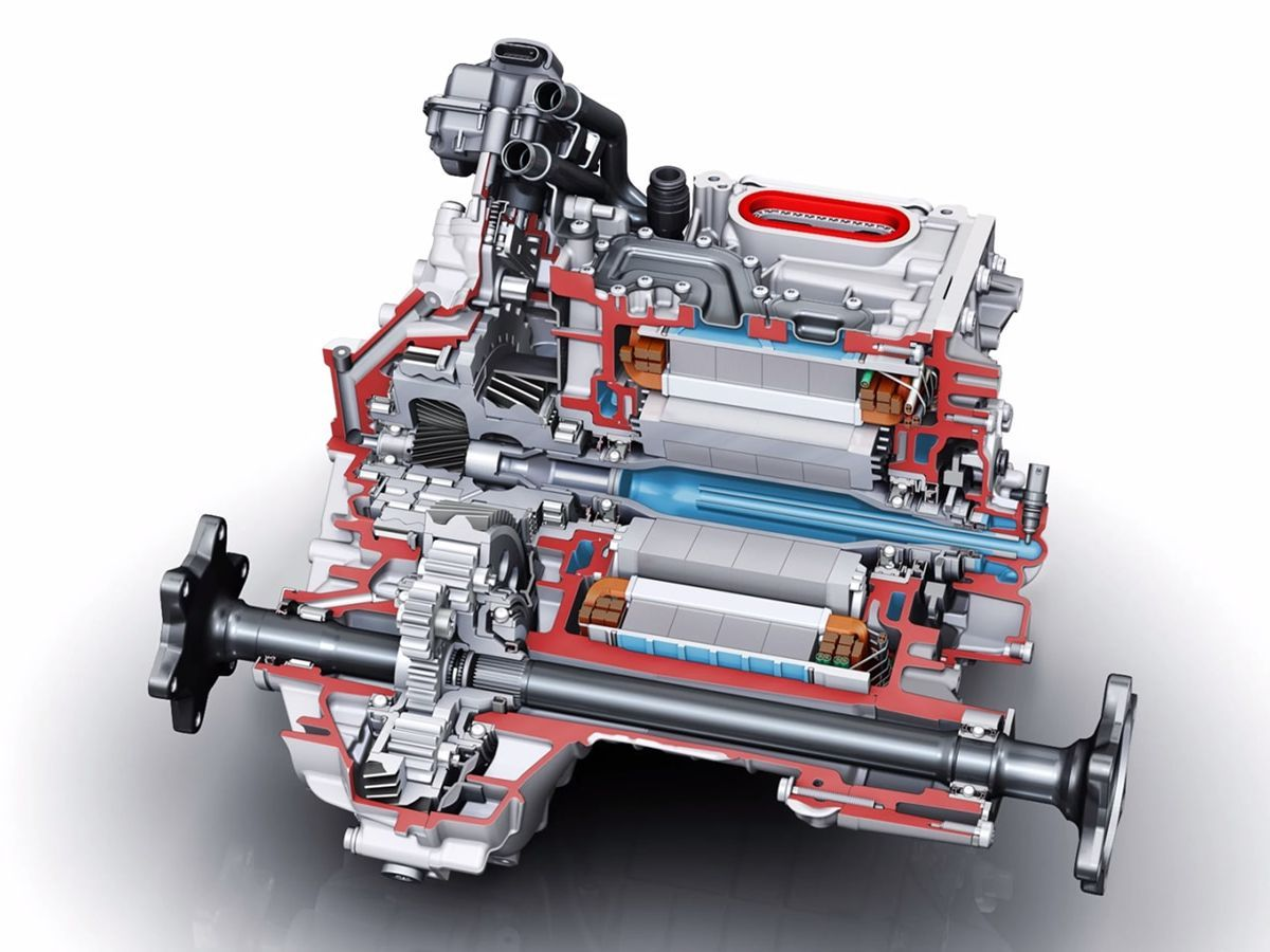 An engineering cut-away of the Audi e-tron engine showing the liquid cooling.