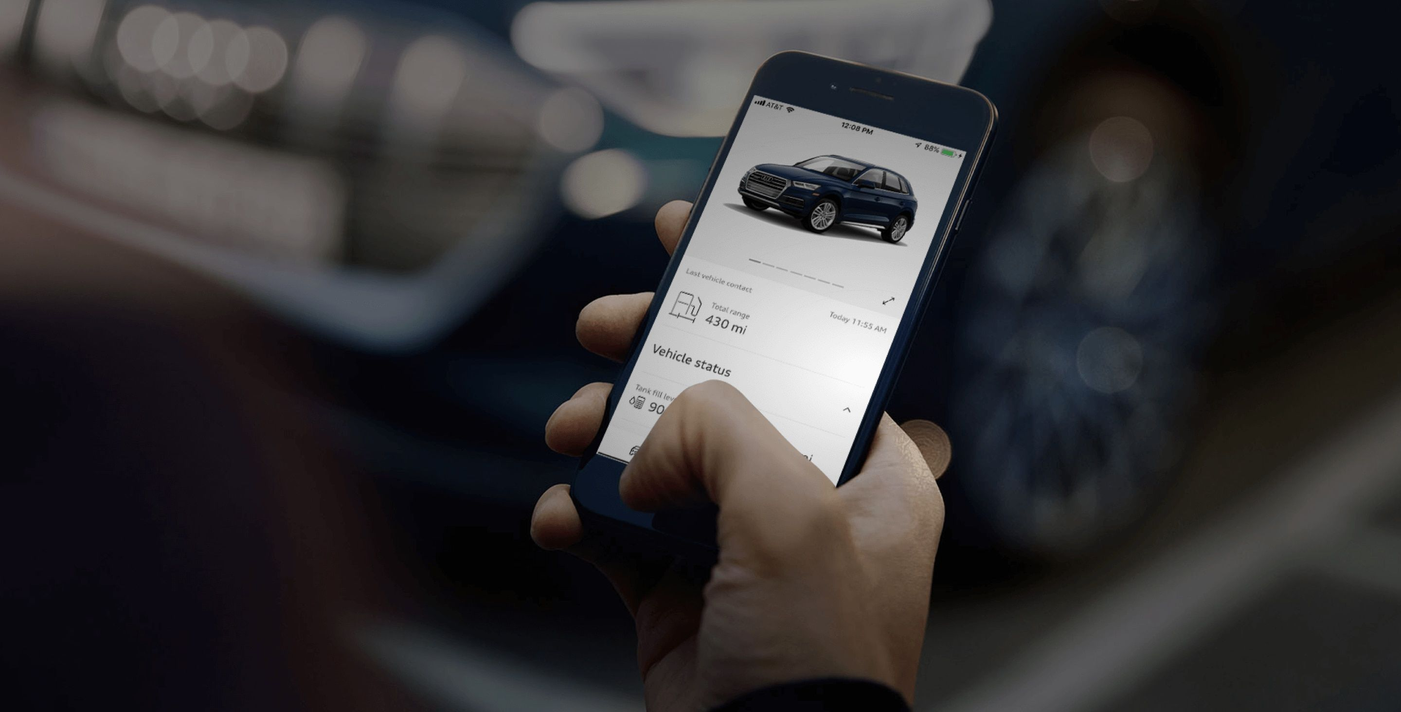 Overview of the myAudi app, demonstrating Total Range and Vehicle Status.