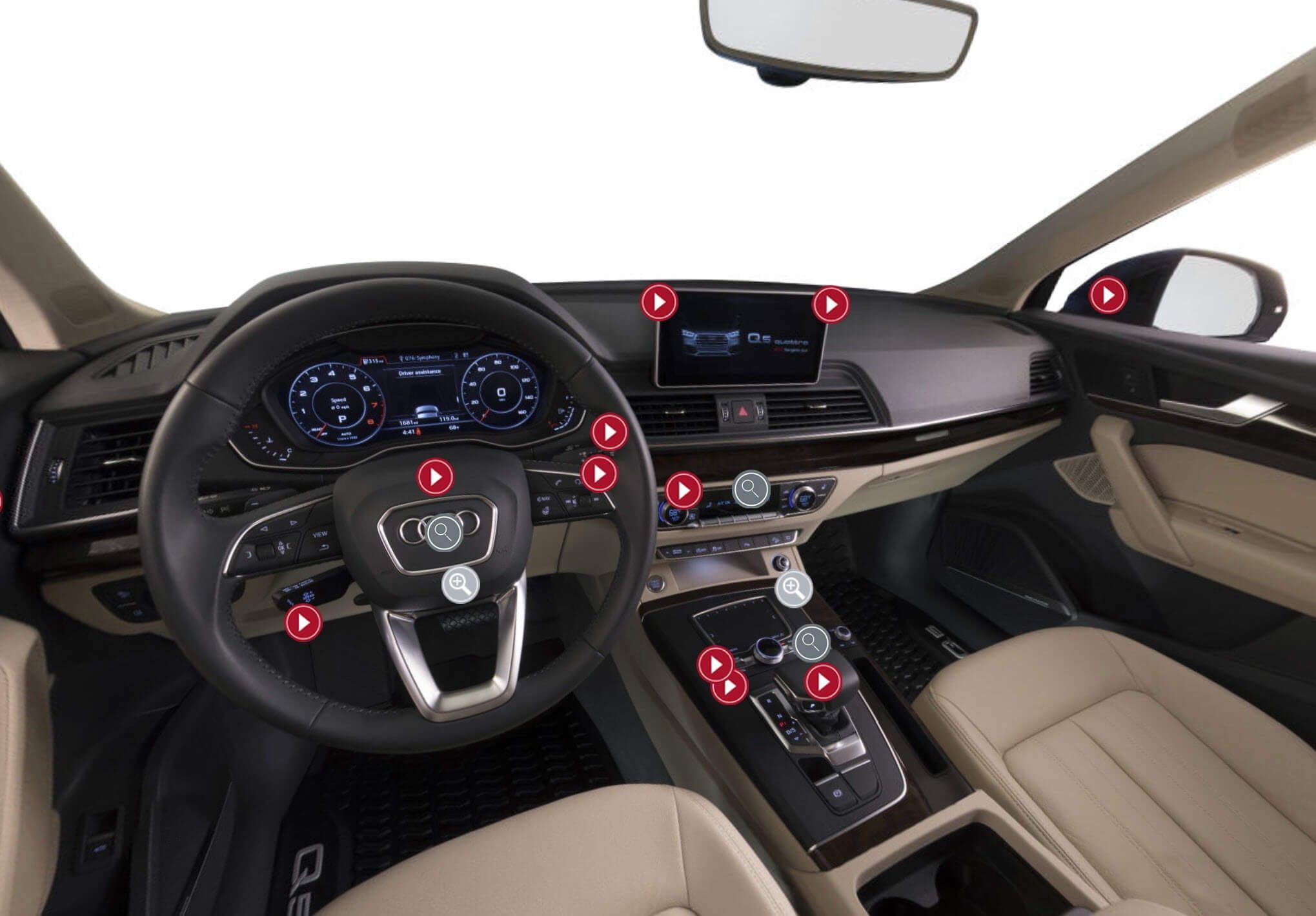 Image of hotspots on the interior of an Audi, demonstrating the Audi IQ functionality.